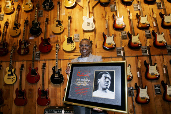 R&B Singer Otis Redding's widow and former manager, Zelma Redding, poses with a plaque of the late singer, after Otis Redding was inducted into Hollywood's RockWalk, Friday, May 11, 2007, as part of a series of events celebrating the 40th anniversary of the Monterey International Pop Festival, at the Hollywood Guitar Center in Los Angeles.