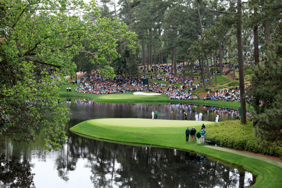 AUGUSTA, GEORGIA - APRIL 06: Gary Player, Jack Nicklaus and Tom Watson of the United States putt during the Par 3 Contest prior to the start of the 2016 Masters Tournament at Augusta National Golf Club on April 6, 2016 in Augusta, Georgia. (Photo by David Cannon/Getty Images)