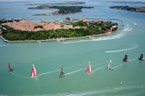 The America's Cup fleet competes during the America Cup World Series (ACWS) Match-Racing in Venice's lagoon on May 18, 2012. AFP PHOTO / OLIVIER MORIN        (Photo credit should read OLIVIER MORIN/AFP/GettyImages)