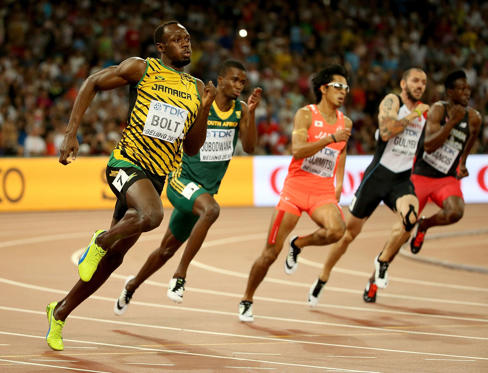 BEIJING, CHINA - AUGUST 26:  Usain Bolt of Jamaica competes in the Men's 200 metres semi-final during day five of the 15th IAAF World Athletics Championships Beijing 2015 at Beijing National Stadium on August 26, 2015 in Beijing, China.  (Photo by Andy L