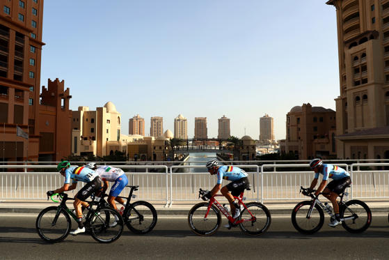 DOHA, QATAR - OCTOBER 16:  (L-R) Jens Keukeleire of Belgium, Daniele Bennati of Italy, Jasper Stuyven of Belgium and Oliver Naesen of Belgium ride during the Elite Men's Road Race on day eight of the UCI Road World Championships on October 16, 2016 in Do