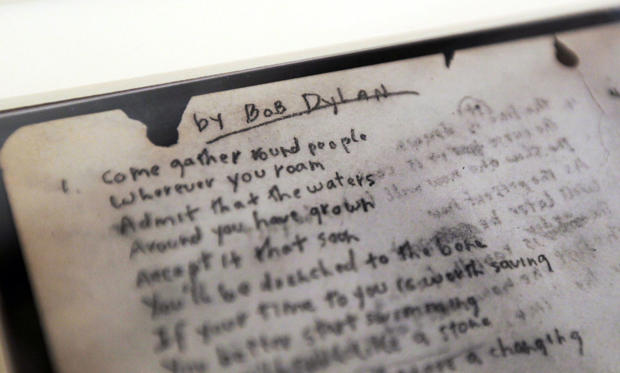"NEW YORK, NY - DECEMBER 03: A detail of folk singer Bob Dylan's handwritten lyrics to his famous anthem ""The Times They Are A-Changin"" is seen at Sotheby's auction house December 3, 2010 in New York City. The document is estimated to be worth between $200,000 and $300,000."