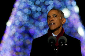 U.S. President Barack Obama delivers remarks at his final National Christmas Tree lighting as sitting president in Washington, U.S. December 1, 2016.