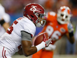 Alabama running back Joshua Jacobs (25) runs against Florida during the first half of the Southeastern Conference championship NCAA college football game, Saturday, Dec. 3, 2016, in Atlanta.