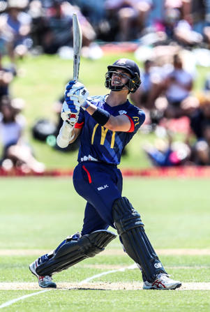 Mark Chapman of Auckland bats during the McDonalds Super Smash T20 match between the Auckland Aces and Otago Volts at Eden Park.