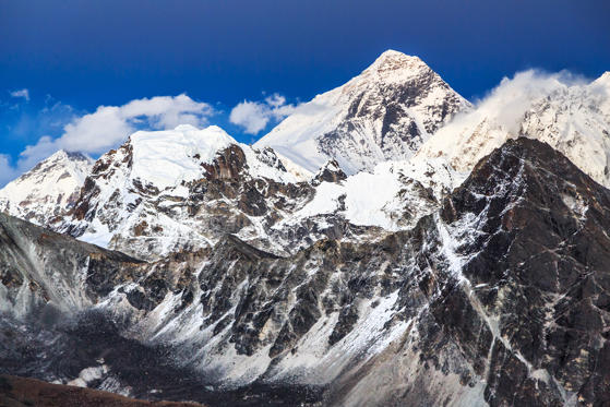 Slide 1 of 20: Aerial view of Mount Everest, Himalayas