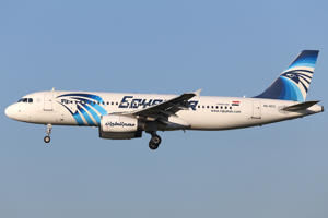 January 2015 image of EgyptAir Airbus A320 with the registration SU-GCC in the air near Zaventem airport in Brussels.