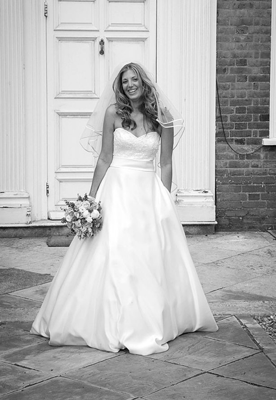 Nicola Cross smiles with joy on her wedding day