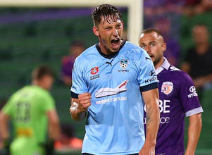 Filip Holosko of Sydney celebrates after scoring a goal during the round 11 A-League match between Perth Glory and Sydney FC.
