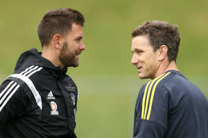 Interim coaches Des Buckingham and Chris Greenacre talk during a Wellington Phoenix A-League training session at Newtown Park on December 7, 2016 in Wellington, New Zealand.