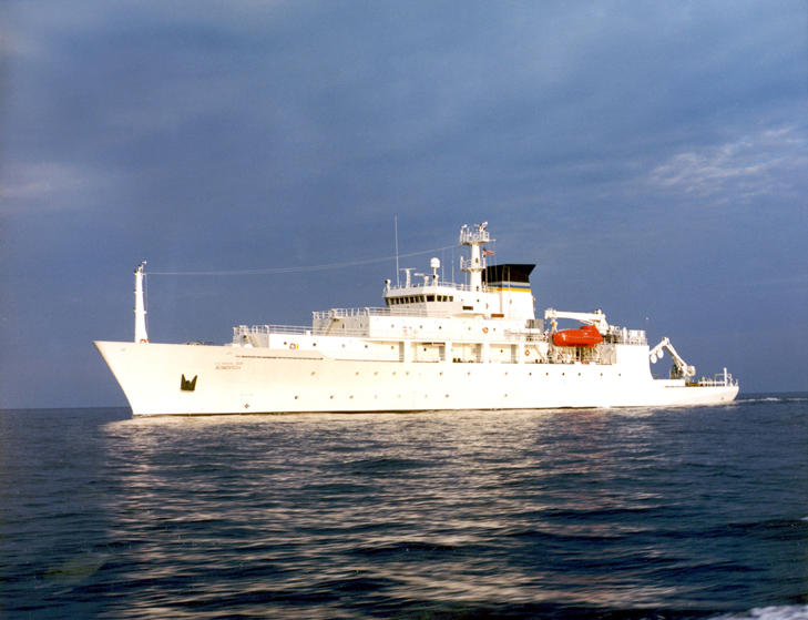 The oceanographic survey ship, USNS Bowditch, is shown September 20, 2002, which deployed an underwater drone seized by a Chinese Navy warship in international waters in South China Sea, December 16, 2016.