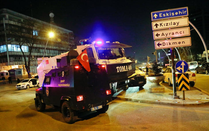 Turkish police secure the area near an art gallery where the Russian Ambassador to TurkeyAndrei Karlov was shot in Ankara, Turkey, December 19, 2016.