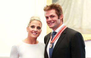 Former All Black captain Richie McCaw and Gemma Flynn.