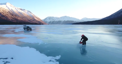 This ice-skater took advantage of some deep, solid, ice on Lake Kenai in Alaska to perform this outrageous stunt.