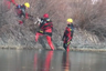 Firefighters rescue dog stranded on icy lake