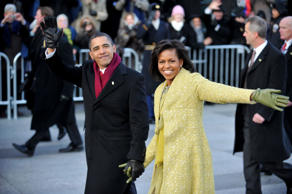 WASHINGTON - JANUARY 20:  President Barack Obama and first lady Michelle Obama walk in the Inaugural Parade on January 20, 2009 in Washington, DC. Obama was sworn in as the 44th President of the United States, becoming the first African-American to be el