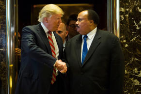 President-elect Donald Trump shakes hands with Martin Luther King III after meeting at Trump Tower in New York on Jan. 16, 2017.
