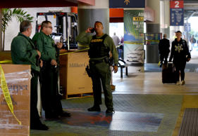Shooting at Fort Lauderdale Airport, USA - 08 Jan 2017 Broward Sheriff Office Sheriffs stand guard outside the entrance to Terminal 2 baggage area at Fort Lauderdale-Hollywood International Airport Sunday morning