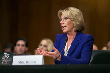 Betsy DeVos, President-elect Donald J. Trump's pick for education secretary, at her Senate confirmation hearing on Tuesday.
