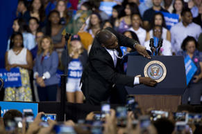 A Secret Servive agent checks the podium last November before President Obama spoke at a campaign event.