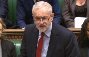 Labour party leader Jeremy Corbyn speaks during Prime Minister's Questions in th...