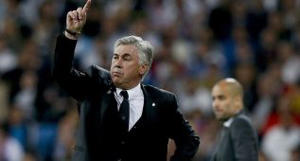 Real Madrid coach Carlo Ancelotti during Wednesday's match at the Santiago Bernabéu.