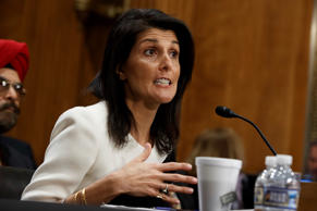 UN Ambassador-designate, South Carolina Gov. Nikki Haley testifies on Capitol Hill in Washington, Wednesday, Jan. 18, 2017, at her confirmation hearing before the Senate Foreign Relations Committee.