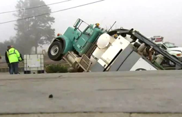 Georgia sinkhole partially swallows truck