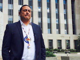 Dave Archambault, chairman of the Standing Rock Sioux Tribe, stands outside court in Washington courthouse, Wednesday, Oct. 5, 2016, where appeals court judges heard his tribe's challenge to the Dakota Access pipeline.