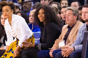 Serena Williams seen court side during the match between the Golden State Warrio...