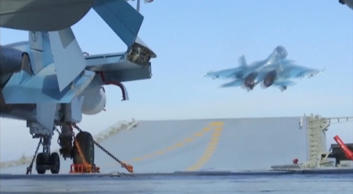 A still image taken from a video footage and released by Russia's Defence Ministry on November 15, 2016, shows a jet taking off from Russian Admiral Kuznetsov aircraft carrier near the coast of Syria.