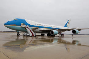 Air Force One sits in the tarmac waiting for President Barack Obama arrival on a...