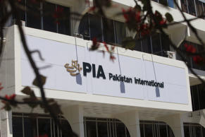 The logo of Pakistan International Airlines (PIA) is seen in Islamabad, Pakistan...