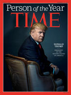 U.S. President-elect Donald Trump poses on the cover of Time Magazine after being named its person of the year.
