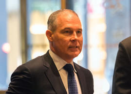 Oklahoma Attorney General Scott Pruitt arrives at Trump Tower on Wednesday in New York.