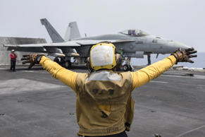 A U.S. Navy crewman directs an F/A-18E Super Hornet fighter jet on the flight deck of the aircraft carrier USS Harry S. Truman in the Mediterranean Sea in a photo released by the US Navy June 3, 2016.