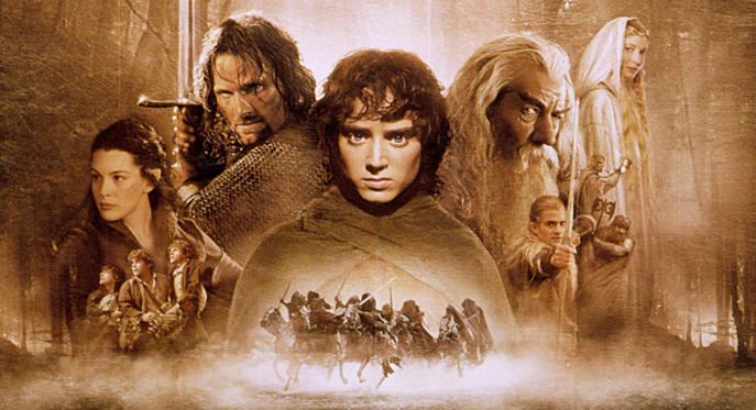 Slide 1 of 28: 'The Lord of the Rings: the Fellowship of the Ring', Liv Tyler, Viggo Mortensen, Elijah Wood, Sir Ian McKellen, Orlando Bloom, Cate Blanchett POSTERS