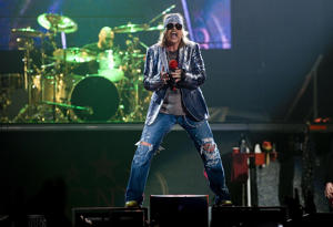 Axl Rose of Guns N' Roses performing at the O2 arena in London.