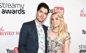 German Garmendia (L) and actress Lenay Olsen attend the 6th annual Streamy Awards hosted by King Bach and live streamed on YouTube at The Beverly Hilton Hotel on October 4, 2016 in Beverly Hills, California.
