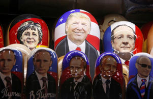 Painted Matryoshka dolls, or Russian nesting dolls, bearing the faces of U.S. Republican presidential nominee Donald Trump, German Chancellor Angela Merkel, French President Francois Hollande and Russian President Vladimir Putin.