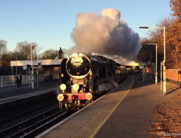 Old steam train pulls up at Norbury station