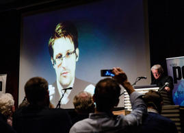 FILE: US whistleblower Edward Snowden, is seen live from Moscow, at the Norwegian PEN event 'Waiting for Snowden' in Oslo on November 18, 2016, Edward Snowden has been named as the winner of Norwegian PEN's Ossietzky Prize, awarded annually for outstanding contributions to freedom of expression.