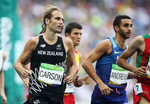 Hamish Carson of New Zealand competes in the Men's 1500 metres first round on Day 11 of the Rio 2016 Olympic Games.