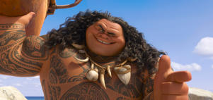 "This image released by Disney shows Maui, voiced by Dwayne Johnson in a scene from the animated film, ""Moana."" Disney's animated movie ""Moana"" debuted to critical acclaim and box office success over the Thanksgiving weekend, but some people in the South Pacific dislike how it depicts their culture. (Disney via AP)"