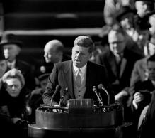 "Democrat J.F. Kennedy is inaugurated as the 35th President of the United States, the youngest ever sworn in.  http://www.onthisday.com/events/january/20  https://www.brainyhistory.com/days/january_20.html  AP caption: After taking oath of office, U.S. President John F. Kennedy delivers his inaugural address at Capitol Hill in Washington, D.C., on Jan. 20, 1961. Kennedy said, ""We shall pay any price, bear any burden, meet any hardship, support any friend, oppose any foe, to assure the survival and success of liberty. (AP Photo)"