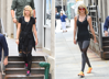 Swift in various outfits coming out of gym in Soho on Sept. 7 (L) and on Aug. 26 (R), 2016 in New York City.