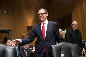 Treasury Secretary-designate Steven Mnuchin arrives on Capitol Hill in Washingto...