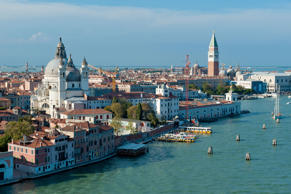 Elevated view of Venice, showing the canal and famous landmarks.
