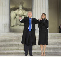 "'Make America Great Again Welcome Concert', Washington DC, USA - 19 Jan 2017 President-elect of The United States Donald J. Trump and First Lady-elect Melania Trump arrive at the ""Make America Great Again Welcome Celebration concert at the Lincoln Memorial."