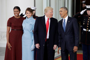 President Barack Obama and first lady Michelle Obama pose with President-elect D...